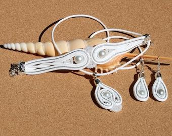 Wedding soutache set white soutache jewelry set white bracelet soutache earrings soutache pendant soutache Gift ideas for her Fashionable