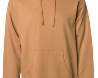 0d6515b1 Comfortable Tan midweight hoodie pullover sweatshirt - great for gym, hike,  and bar stool
