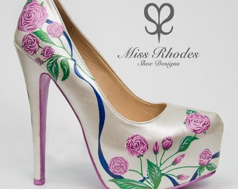 980e560534f7 Beautiful ladies women s Bridal wedding shoes satin ribbon flowers  personalised pink roses matching soles high heels hand painted pumps