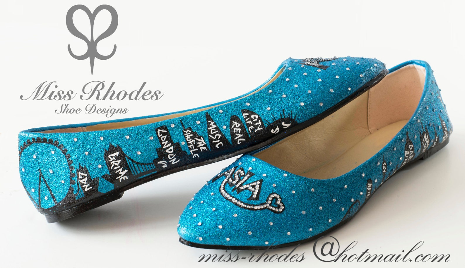 girls custom made hand painted bespoke birthday shoes ballet pumps blue glitter crystal stars london skyline graffiti london tow