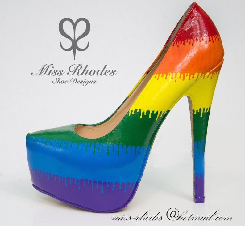 Ladies womens unisex LGBT gay pride celebration rainbow shoes  e7b1faad5171