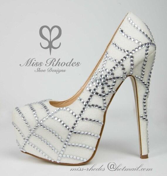 ladies crystal spiderweb spider stiletto heels shoes pumps etsy