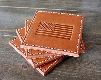 American Flag Leather Coasters (Set of 4)