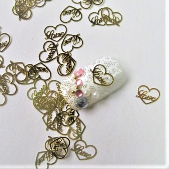 25 GOLD CHARMS For NAILS 3D Gold Nail Decals Gold Nail Stickers 3D Nail Art Birthday Gift For Her Small Gift For Women In Box Small Gift Box