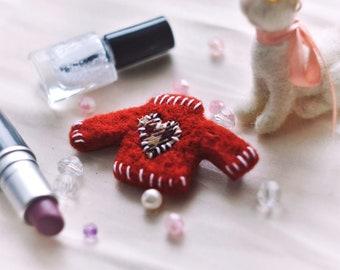 Needle felted brooch, wool sweater pin