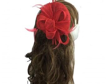 Stunning Red Colour Sinamay Feather Flower Hair Fascinator Headband