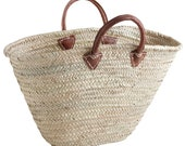 Large French basket with Leather Handles