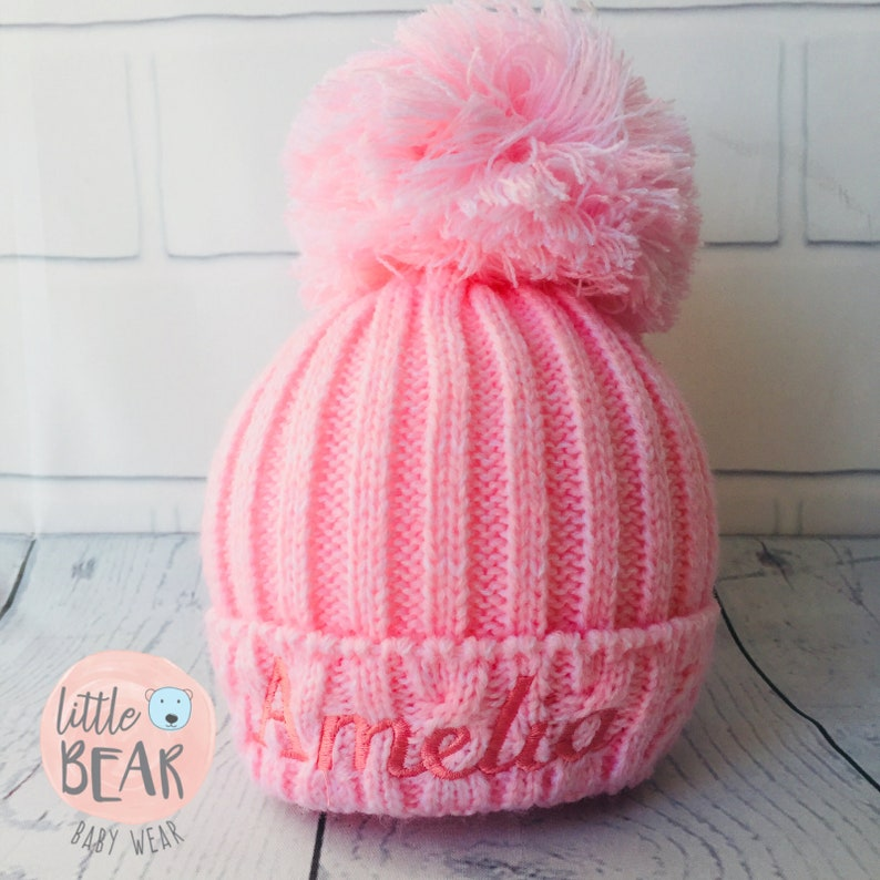 67310b8ec Personalised Pom Pom Hat, Baby Pom Pom, Pom Pom Hat, Newborn Hat, Knitted  Hat, Fur Pom Pom, Wooly Hat, Big Pom Pom Hat, Hat with Name