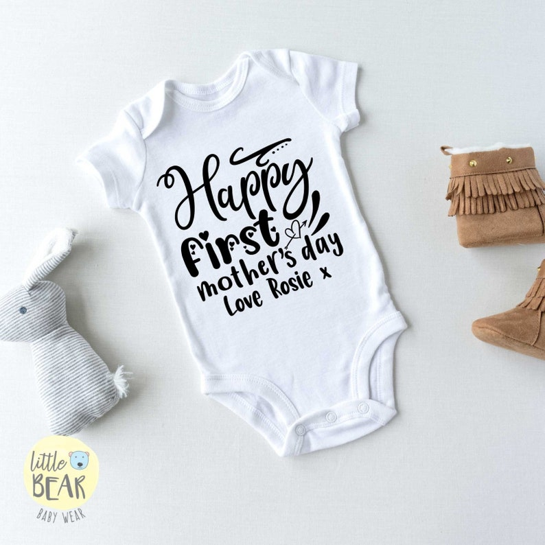 Personalised Grey Happy First Mother/'s Day Baby Vest
