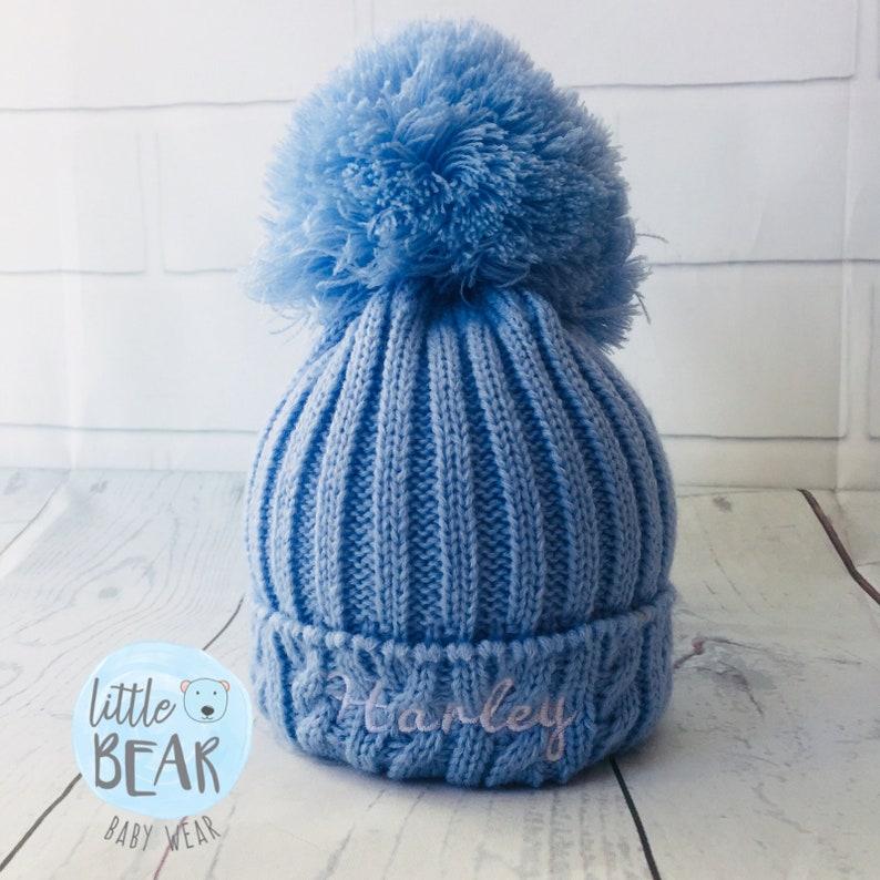 e24c33fc1 Personalised Pom Pom Hat, Baby Pom Pom, Pom Pom Hat, Newborn Hat, Knitted  Hat, Fur Pom Pom, Wooly Hat, Big Pom Pom Hat, Hat with Name