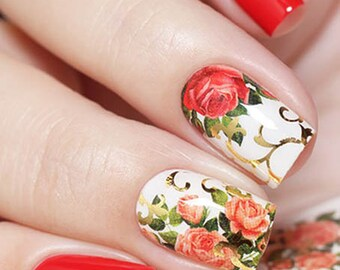 Gold Nail Decals Flowers Nail Stickers Foil Nail Art Decal Etsy
