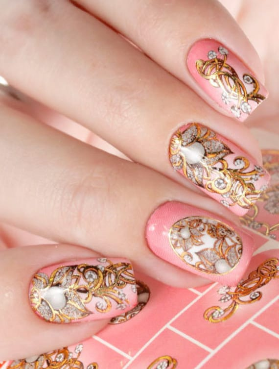 Gold Nail Decals Foil Nail Stickers Flowers Nail Art Decal Etsy