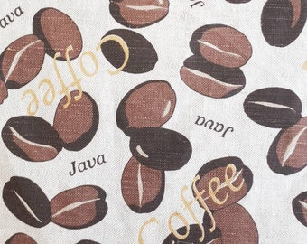 "59"" COFFEE FABRIC , Linen/Cotton Fabric, Sold by the yard"