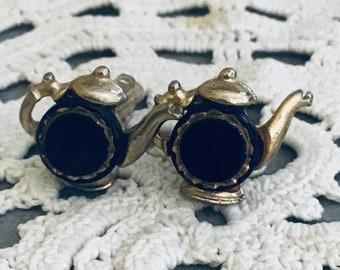 Cuff links teapot vintage black jewelry