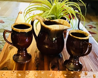 Pitcher with matching glasses, Vintage hull pitcher with stemmed cups brown drip glaze