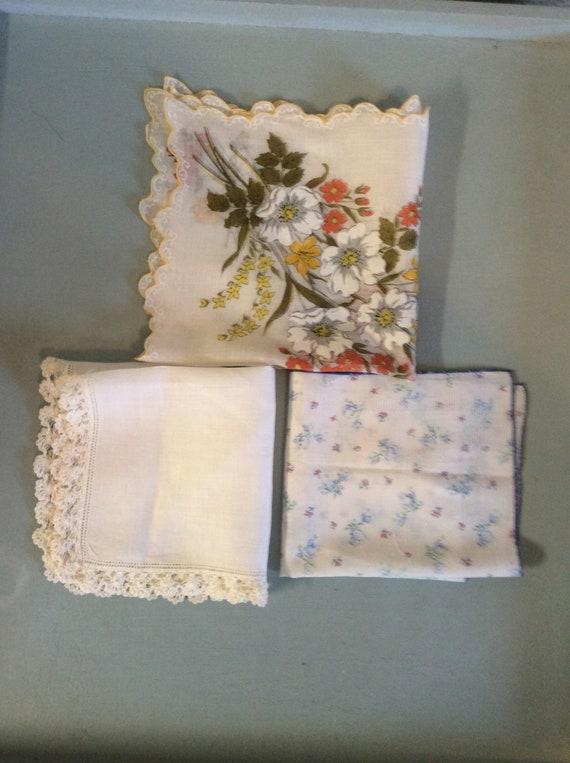 Handkerchiefs, vintage linens, mid century somethi