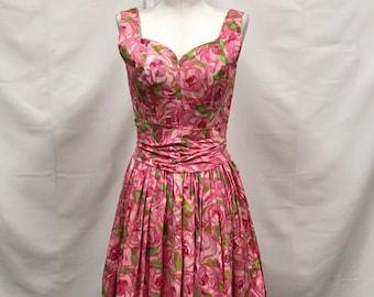 Suzy Perette 1950s pink rose floral dress XS