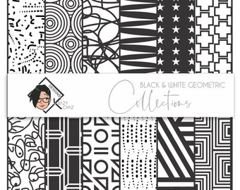 B&W Geometric - Collection of 12 patterns