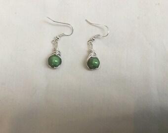 Green wire wrap earrings