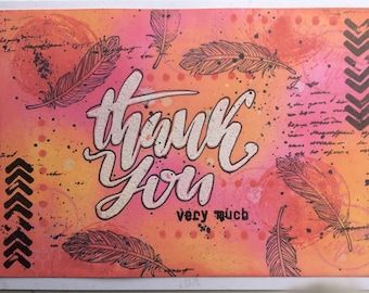 One Layer card. Nice to thank someone. It is made with distress oxide and all kinds of stamps.