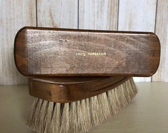 4b5e7e4a423 2 Piece Vintage Wood 100% Horse Hair Shoe Shine Brushes - Vintage Horse  Hair Brush