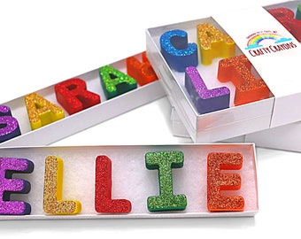 Glitter Name Crayons in a Clear Top Box