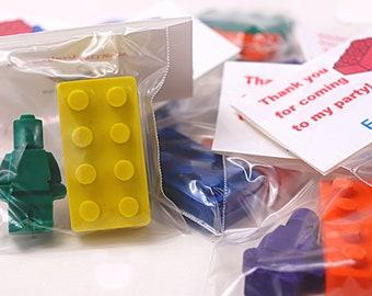 Building Brick Crayon Party Bags: Crayon Party Favors