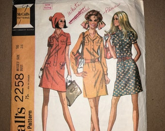 """Vintage McCall's 2258 60s Printed Sewing Pattern - Misses' Retro Dress in Two Lengths; Size 16, Bust 38"""""""