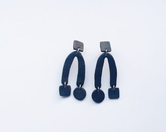 Black Polymer Clay Maxi Earrings