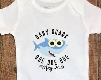 7b911132665 Pregnancy Announcment Baby Shark Baby Bodysuit   PinkFong  Doo Doo Doo
