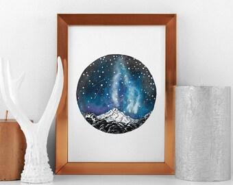 mountain lover watercolor print, Scandinavian minimal landscape poster, Nature Wall art decor, magical hausewarming decoration, night sky