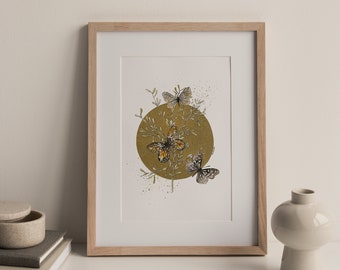 Butterfly Poster, Butterfly Print, Watercolor Art, Butterfly Illustration, insect art, Home Decor, Insect poster, poster with gold, Art deco
