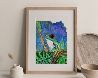 Poster Green frog, frog Print, frog Illustration, animal art, Home Decor, animal poster, Art deco, Nature wall decor, poster for kids