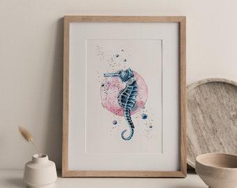 Poster Seahorse, seahorse Print, Seahorse Illustration, sea art, Home Decor, sea poster, poster with gold, Art deco, Nature wall decor