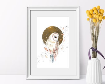 golden autumn owl poster, white gold decor, Scandinavian animal portrait print, watercolor bird nursery art, bohemian boho wall decoration