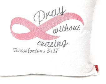 decorative throw Pillow Cover Breast Cancer awareness red throw Pillow Cover Inspirational Pillow Cover Embroidered Pillow Spiritual