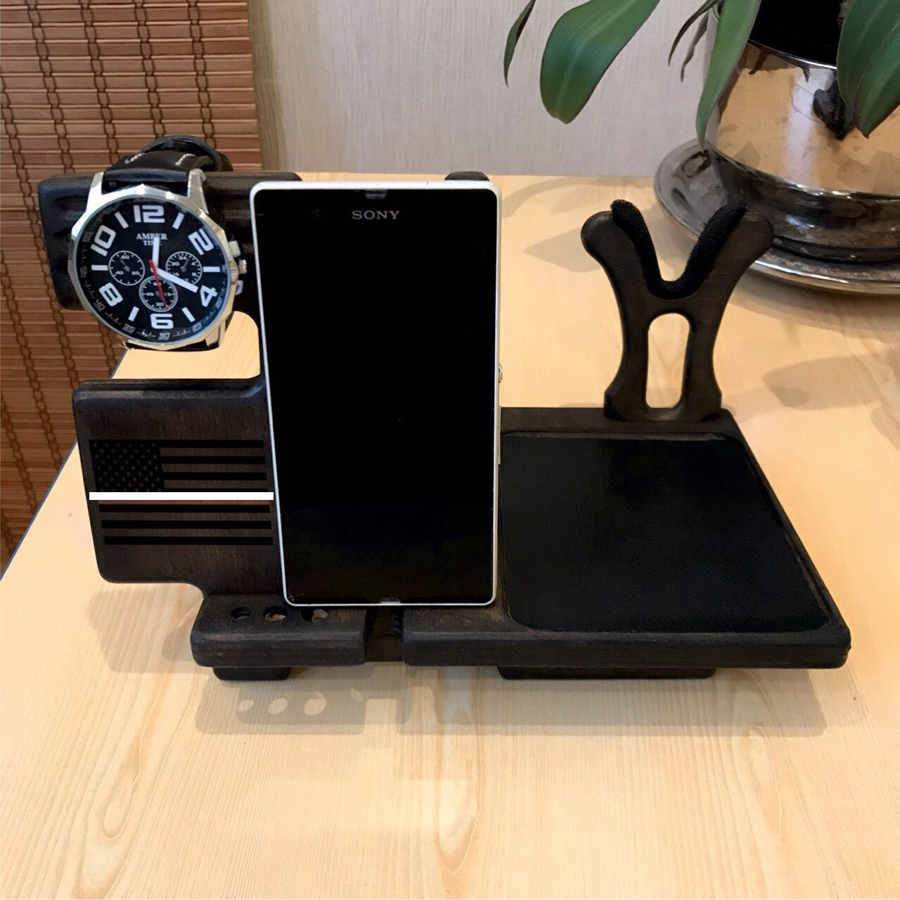Docking Station Men And Nightstand Organizer For Gun With Gun Holder Thin Line Flag 60th Birthday Gift Gifts For Men Who Has Everything