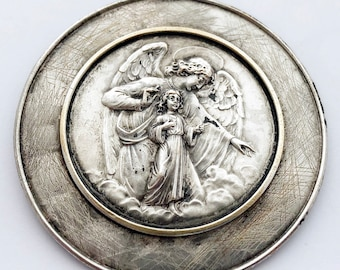 Vintage German Guardian Angel Medal Superb Size Religious Lucky Charm