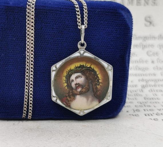 Antique Jesus Necklace, Silver Enamel German Jesus