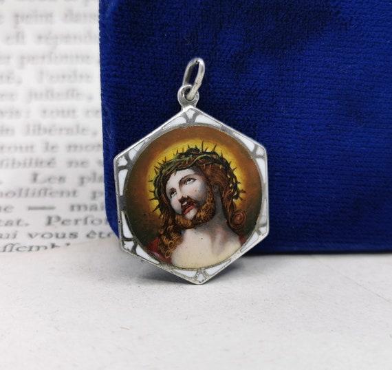 Vintage Jesus Medal, Silver Enamel German Jesus Pe