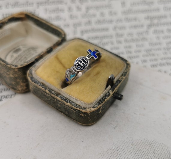 Antique German Jesuit Ring, Catholic IHS Enamel Ri