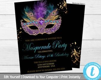 Masquerade Birthday Party Invitation Mardi Gras Invite Ball Milestone