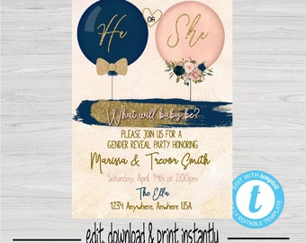 Gender Reveal Invitation, Balloon Gender Reveal, Blush Pink Navy Invite, He or She What Will Baby Be, Baby Gender Reveal Instant Download