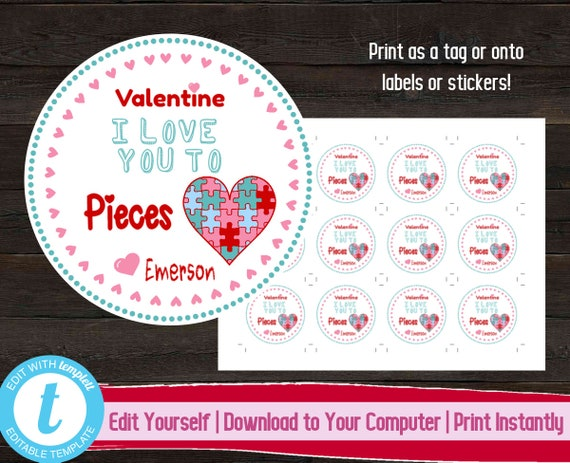 graphic relating to I Love You to Pieces Printable named Puzzle Valentines Working day Tags, Printable I Take pleasure in On your own Towards Sections Valentines Working day Stickers, Valentines Working day Reward Label, Young children Valentines Working day Tags