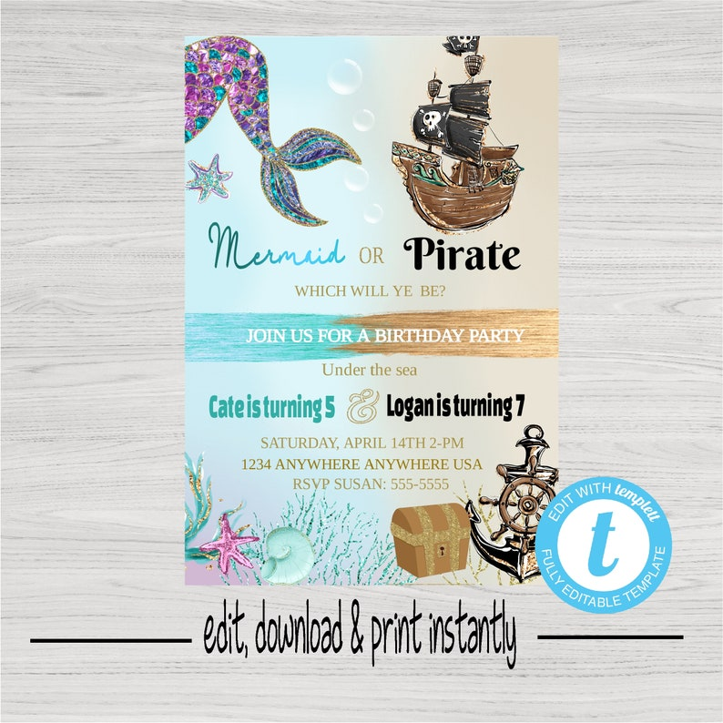 Mermaid Or Pirate Birthday Party Invitation Joint Editable Template