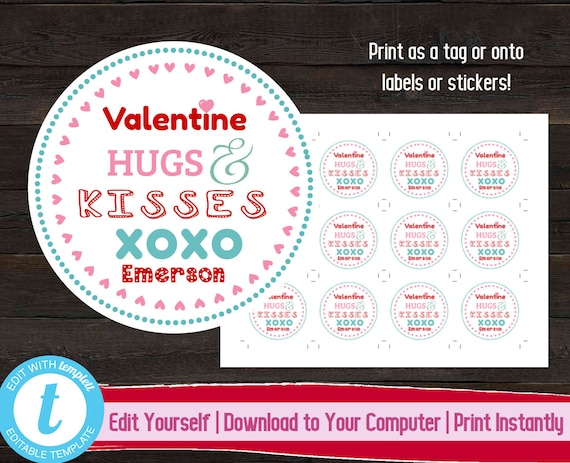 photograph relating to Valentine Labels Printable titled Editable Valentines Working day Tag, Printable Valentine Label, Valentines Working day Present, Printable Children Valentine Stickers, Chocolate Hugs and Kisses