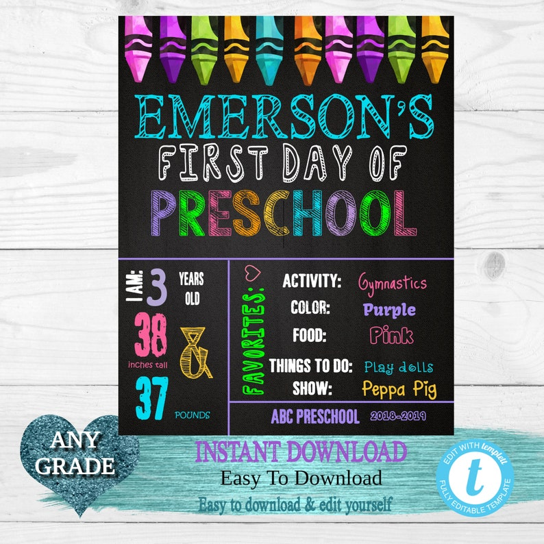 Crayons First  Day of School Sign Back to school Printable Chalkboard Poster Any Grade First day of School Back to school