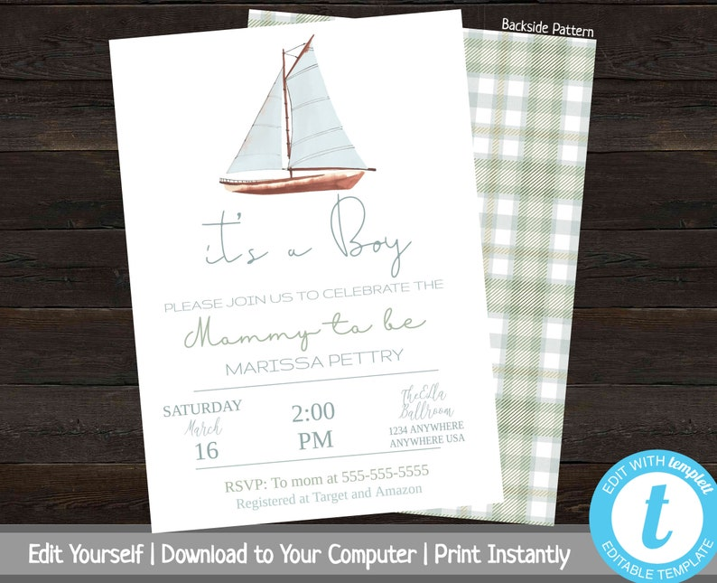 Nautical Baby Shower Invitation Sailboat Invite Printable Boy Template Its A Plaid