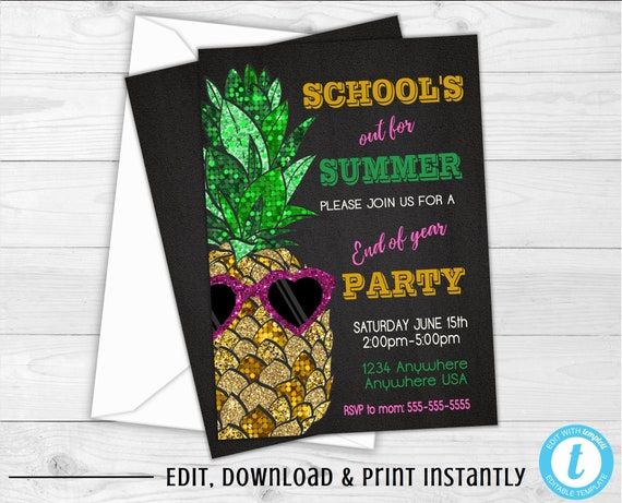 End Of The Year Party Invitation Schools Out For Summer Pineapple Invite Summer Party Invitations Glitter Schools Out Party Chalkboard