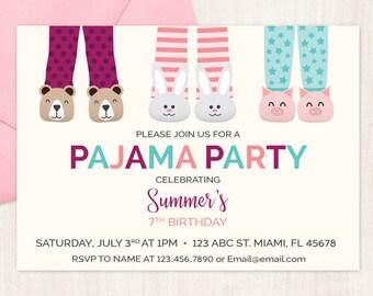 slumber party invitations printable